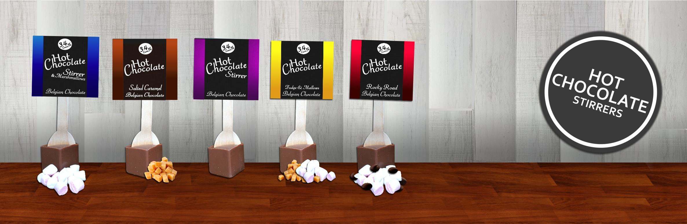 hot chocolate stirrers, hot chocolate spoons, chocolate stirrers, hot chocolate sticks, choc o lait
